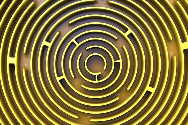 円形の迷路。上からの眺め。イエロースタイル