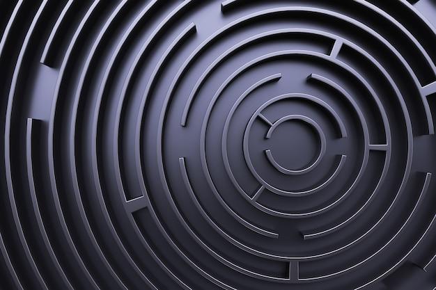 Круговой лабиринт. вид сверху. черный стиль Premium Фотографии