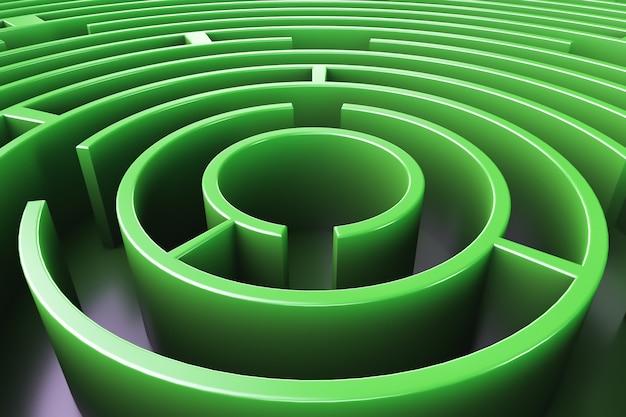Круговой лабиринт. вид сверху. зеленый стиль.