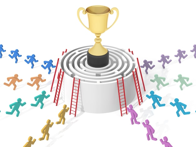 Circular maze with gold cup computer rendered graphic for the business concept