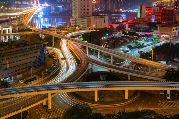 Circular overpass and modern urban architecture in chongqing, china