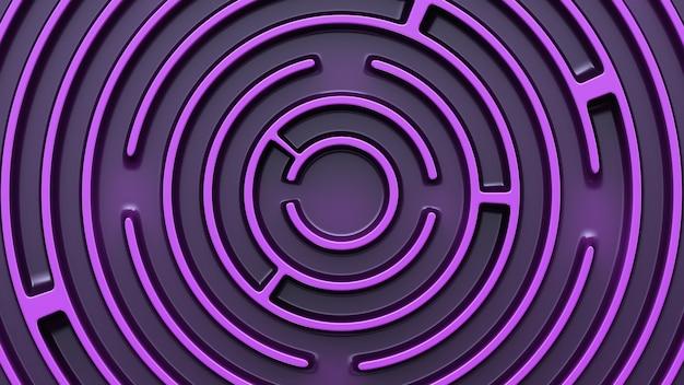円形の紫色の迷路構造。上面図。