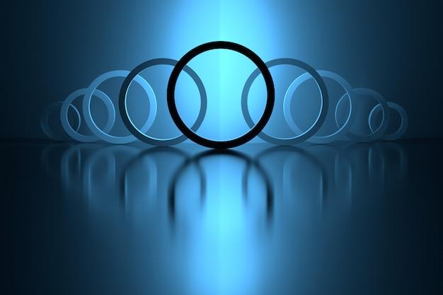 Circular shapes over mirror shiny surface