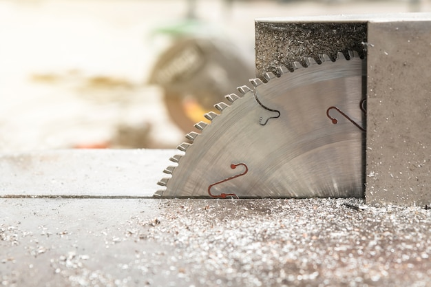 Circular steel saw blade after worked with metal shavings