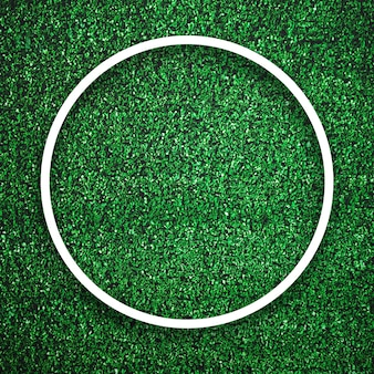 Circular white frame edge on green grass with shadow background. decoration background element concept