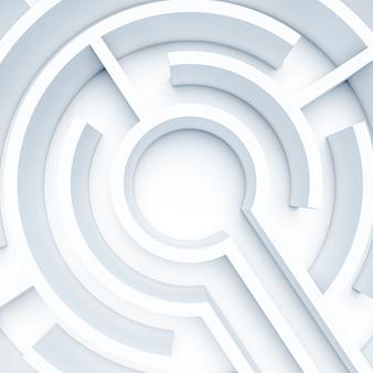 Круглый белый лабиринт. 3d визуализация, никого вокруг. понятие проблемы и препятствия.