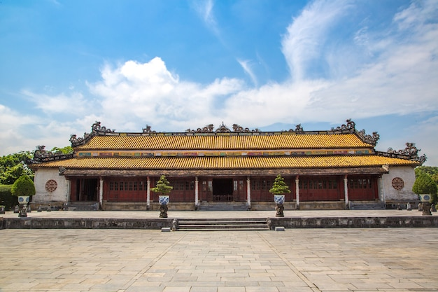Citadel in imperial royal palace in forbidden city in hue in vietnam