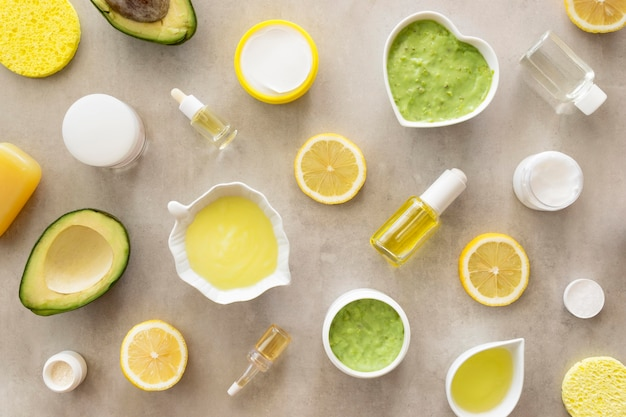 Citrus and avocado beauty and health spa concept