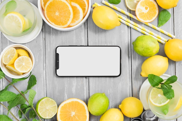 Citrus frame with smartphone