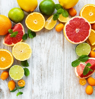 Citrus fresh fruits background
