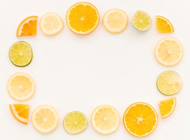 Citrus fruit composition on white background