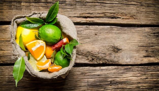 柑橘系の果物-古い袋に入ったグレープフルーツ、オレンジ、みかん、レモン、ライム。