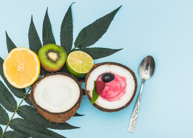 Citrus fruits; kiwi; halved coconut with ice cream scoop and spoon on blue background