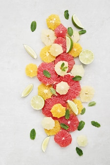 Citrus fruits and leaves