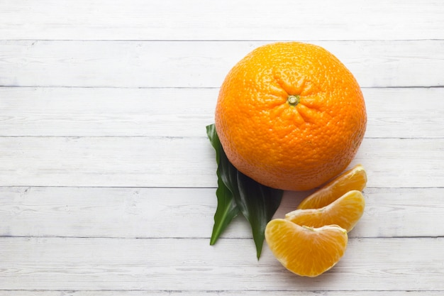 Citrus fruits. oranges. over wood table background with copy space