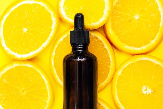 Citrus lemon essential oil in a bottle