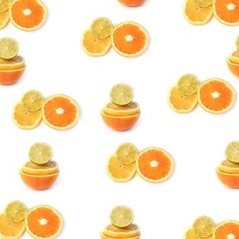 フラットスタイルの白い背景の上面図に分離された柑橘類レモンライムオレンジパターン