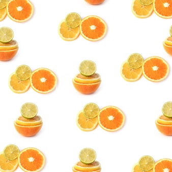 Citrus lemon lime orange pattern isolated on a white background top view of a flat style