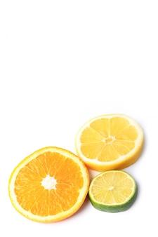 Citrus orange lemon lime cut circles isolated