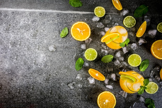 Citrus punch with oranges and lime, with mint sprigs, chilled with ice