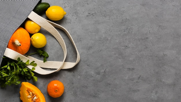 Citrus and veggies for healthy and relaxed mind copy space