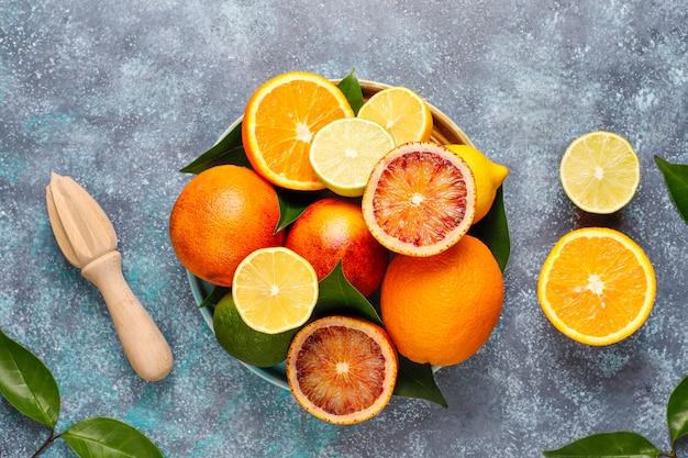 Цитрусовые с ассорти из свежих цитрусовых, лимон, апельсин, лайм, кроваво-оранжевый, свежий и красочный, вид сверху