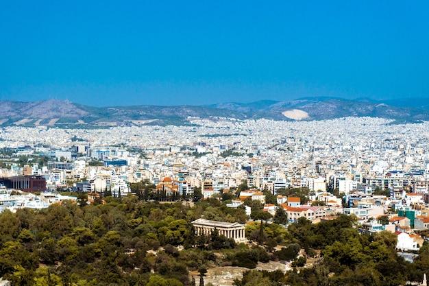 City of athenes and ancient ruins of greece