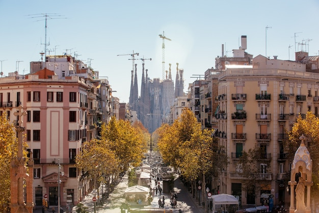 City of barcelona and sagrada familia