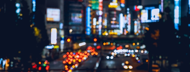 City blur image for background in japan at night
