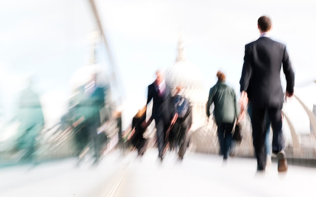 City business people commuting in rush hour