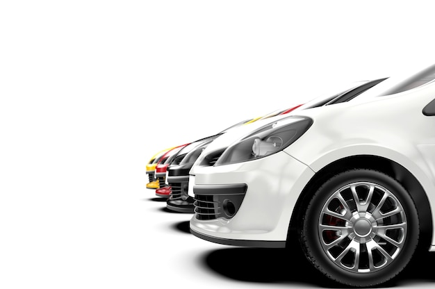 City car in a row isolated on white