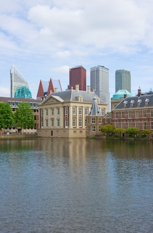 City center of den haag mauritshuis and new skyscapers, netherlands