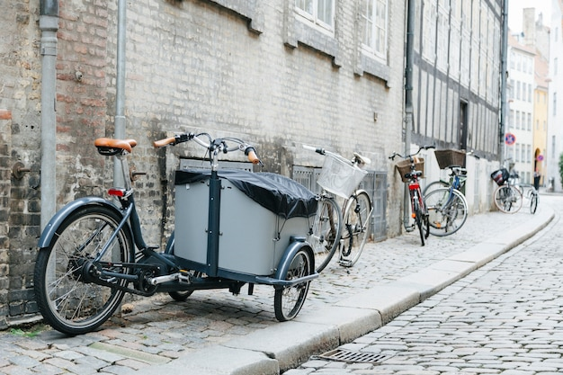 City cobbled sidewalk with bicycles