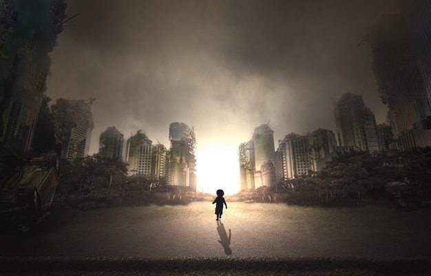 City destroyed by war and child walking in the street