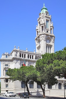 City hall on liberdade square, porto, portugal