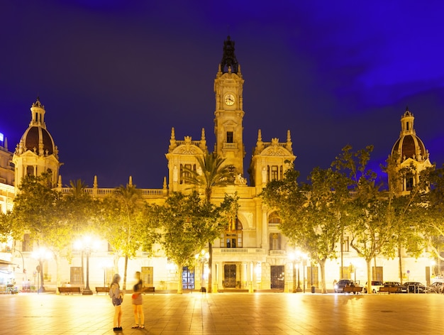 City hall in night. valencia