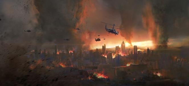 Город в торнадо, иллюстрация сцены судного дня.