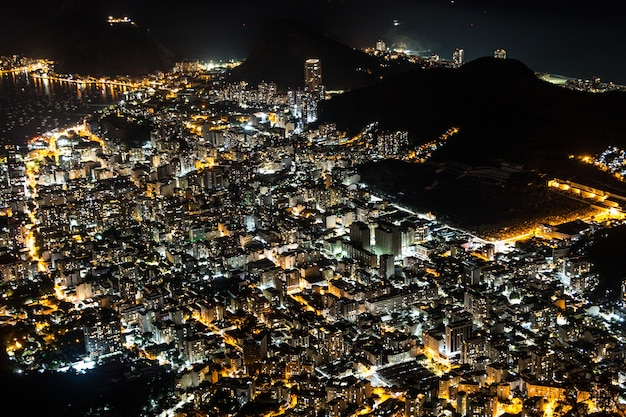 City lights seen from the top of the corcovado hill in rio de janeiro, brazil.