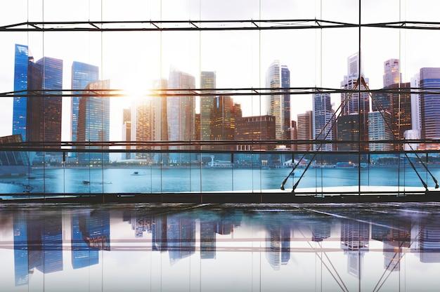 Городские огни городской живописный вид на здания концепции