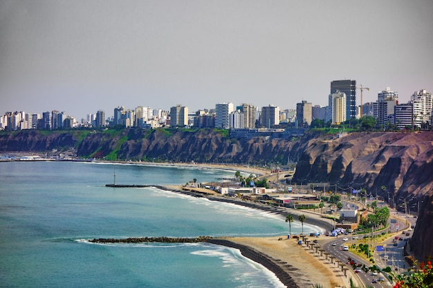The city of lima on the pacific ocean in peru