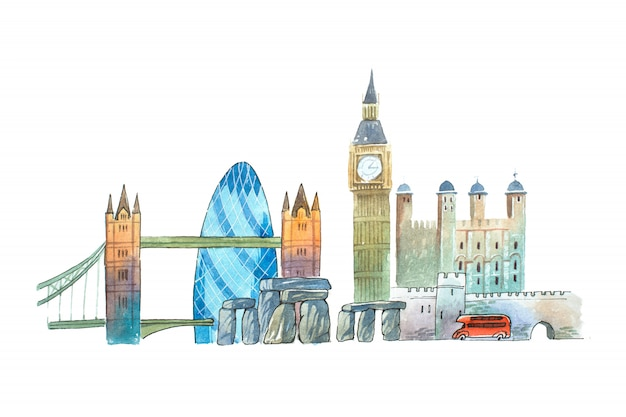 City of london skyline famous landmarks travel and tourism waercolor illustration.