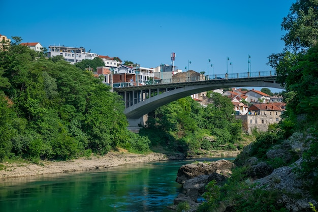 In the city of mostar there is a modern bridge for cars.