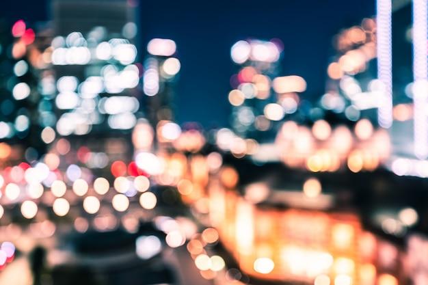 City night bokeh background of tokyo