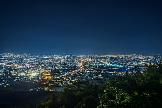 City night landscape from the view point on top of mountain , chiangmai ,thailand