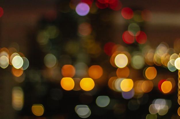 City night light blur bokeh, defocused background