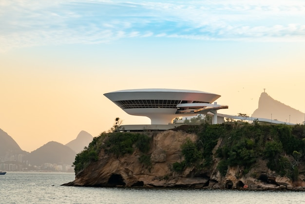 City of niteroi state of rio de janeiro  brazil south america beach and mac contemporary art museum by architect oscar niemeyer