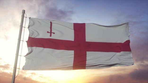 風、空、太陽の背景に手を振って、イギリスのロンドン市の旗。 3dレンダリング