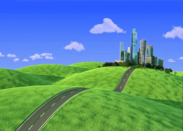 郊外の地平線上の都市-3 dレンダリング