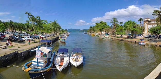 City of paraty, state of rio de janeiro, brazi. aerial view of the historic center and anchorage. Premium Photo