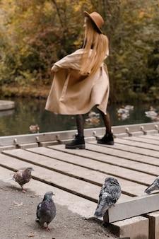 秋の服のぼやけたモデルを背景に秋の公園の都市の鳩